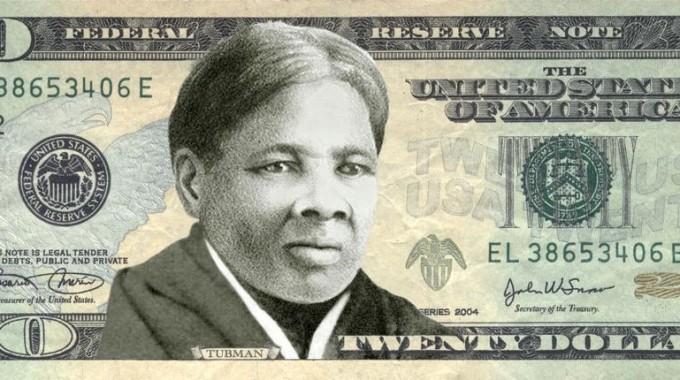 Un facsimile della banconota da 20 dollari con l'immagine dell'eroina antischiavista Harriet Tubman