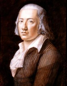 Friedrich Hölderlin in un ritratto di Franz Karl Hiemer, 1792