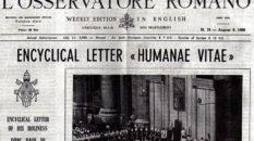 La prima pagina dell'Osservatore romano del 25 luglio 1968